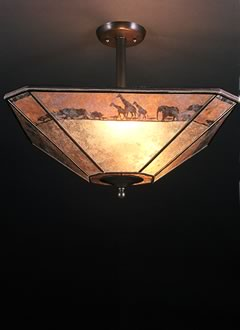C146 African Lamp shade and ceiling fixture