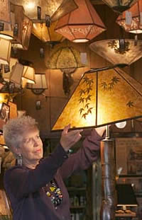 Sue Johnson in her Berkeley lamp shop