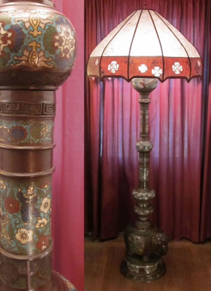 f01 Antique Japanese Champlevé Elephant Floor Lamp with Sue Johnson Mica Lampshade