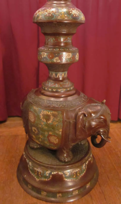 f01 Antique Japanese Champlevé Elephant Floor Lamp base
