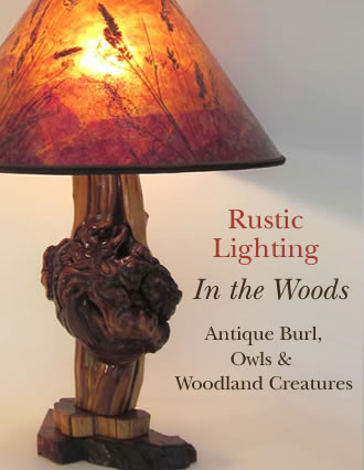 t01 Rustic Lighting - Antique burl table lamps, owl lamps, rustic wall sconces