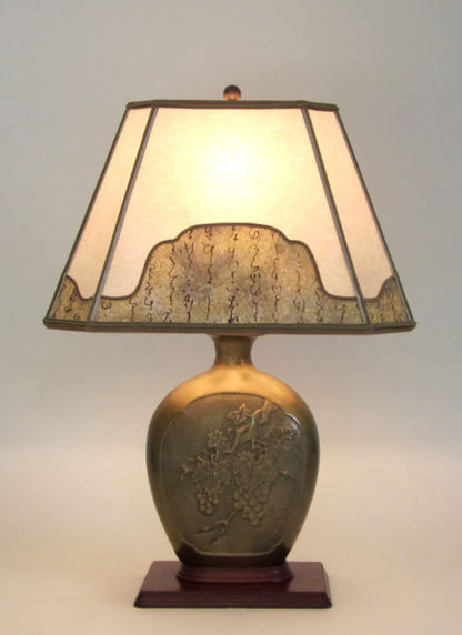 amt06 Antique brass table lamp with grapes and leaves, parchment paper lampshade with decorative border