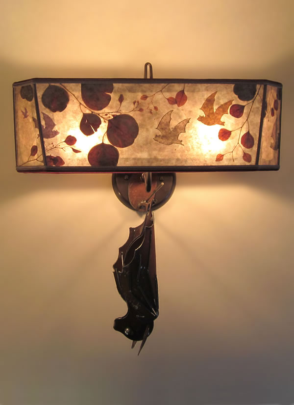 S00 Hanging Bat Metal Sconces Unique Mica Shade With Hand Cut Bats Among Natural