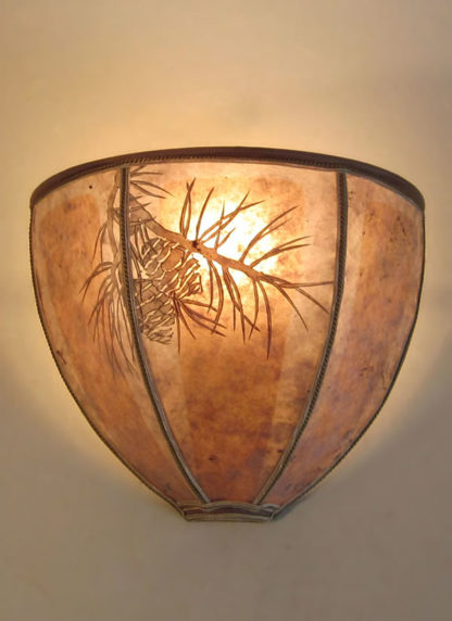 """s274 Curved mica rustic sconce lights with hand-cut """"Pine Bough"""" design"""