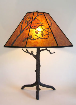 t00 Antique Cast Metal Tree Lamp with Mica Bat Shade