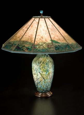 Large Copper Table Lamp Quot Lightning Border Quot Southwestern