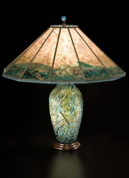 T185 Lindsay Art Glass Table Lamp and Mica Lampshade, Floral Illusion with Pepper Leaves and Dragonflies