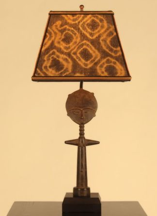 African decor: table lamp: fertility doll Mud Cloth lamp shade