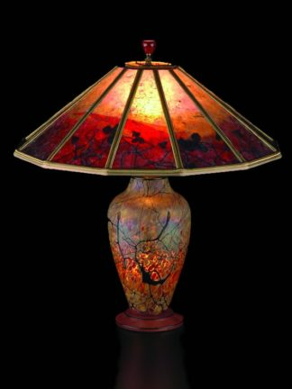 T205 Lindsay Art Glass Table Lamp and Mica Lampshade: Red Vines