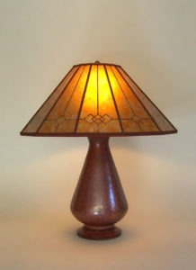 t224a Hammered recycled copper table lamp, Windowpane Mission Mica Lamp Shade