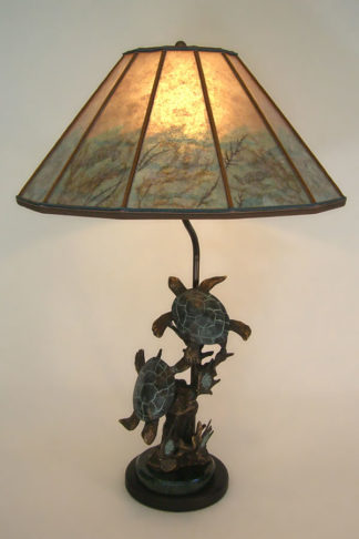 t228 Bronze Turtle Sculpture Table Lamp, Mica Lamp Shade with Sea Turtle Drawings