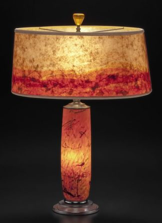 t281 Orange Glass Lamp - Hand blown Confetti Design with Modern Mica Shade