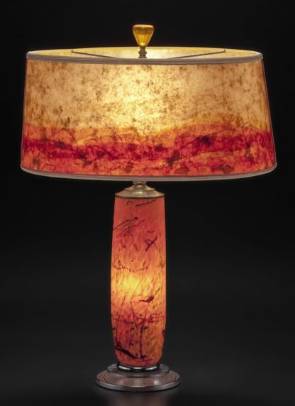t281 Orange Glass Lamp - Hand blown Confetti Design with Modern Mica Shade