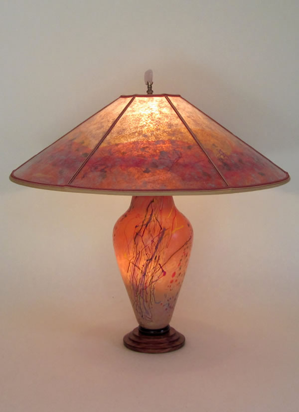 T282 Confetti Orange Art Glass Lamp, Design 2