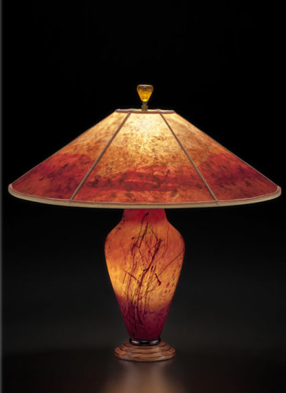 T282b Confetti Orange Art Glass Lamp, design 2, Sloped Mica Shade with confetti design by Sue Johnson