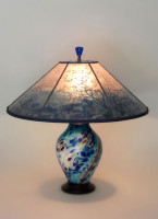 T288 Under the Sea Lamp and Lamp Shade - lighted base art glass table lamp with mica shade