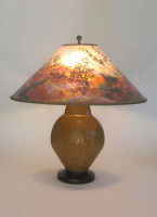 "t290 Cedar Waxwings Bird Lamp & Colorful Mica Lampshade, ""Morning Meadow"""