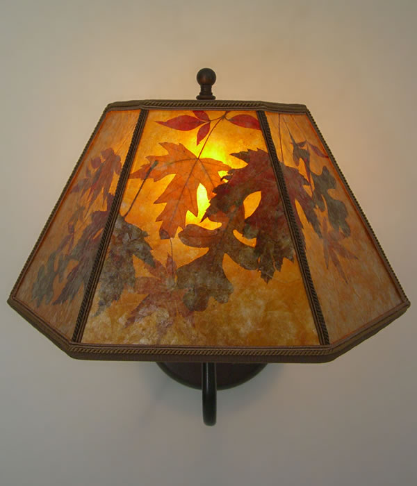 Amber Mica Lamp Shade With Autumn Leaves Oxidized Brass
