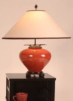 t153 Red Raku Asian Style Lamp, Rice Paper Lampshade