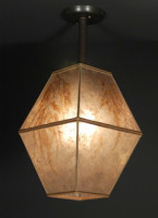 c127 Double Square Mica Hanging Lamp ceiling light fixture with Maidenhair fern