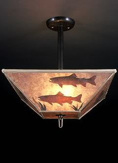 c144 Rustic lighting with trout fish swimming on a square mica lamp shade, Ceiling Light Fixture