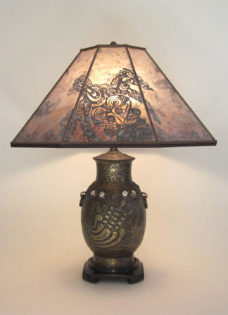 amt03 Antique table lamp with Turtle, Dragon and Phoenix designs, Mica Lampshade with Rising Turtle design