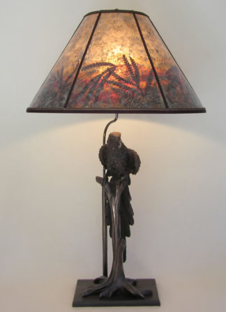 "amt05 Antique metal lamp ""Jungle Parrot"", mica lampshade ""Sunrise in Parrot Land"""