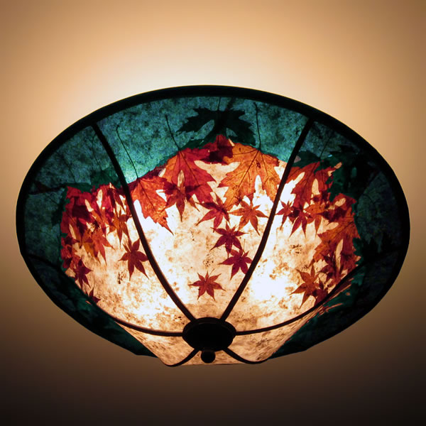 Round Mica Ceiling Light Fixture, Natural Red Maple Leaves with The ...