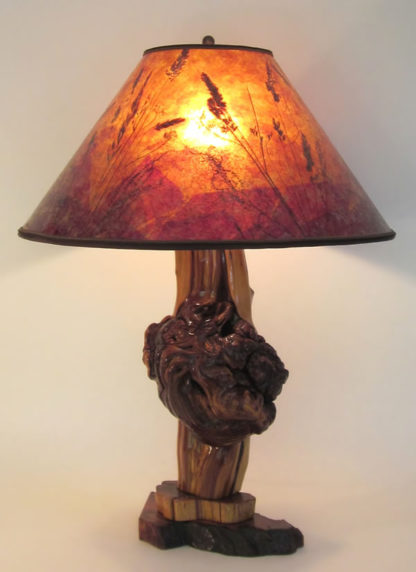 "t01 Rustic Cedar Burl Lamp, ""Sunset"" Mica shade, by Sue Johnson"