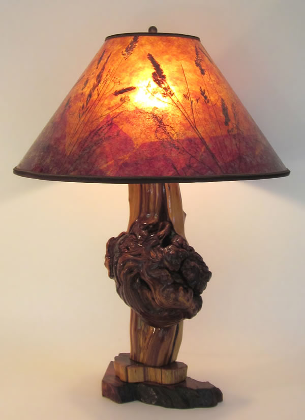 Rustic Cedar Burl Lamp Sunset Mica Shade By Sue