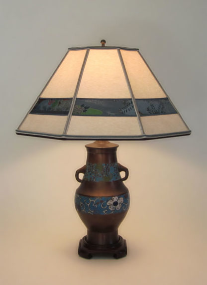 t02 Antique Champlevé lamp with handles, Parchment paper lampshade shade with decorative detailing