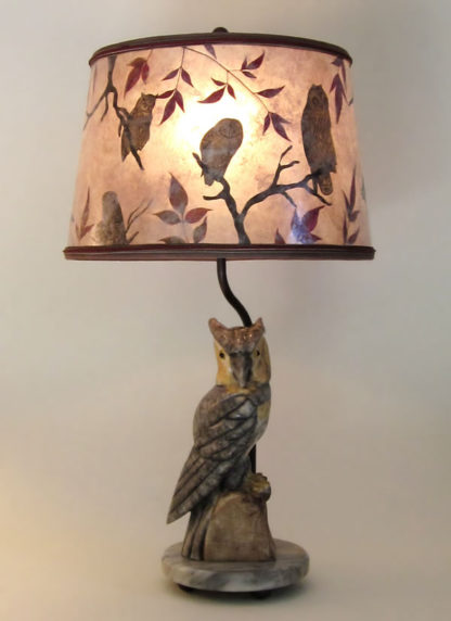 t02 Rustic Alabaster Antique Owl Lamp, Round Mica Lampshade with Owls and branches