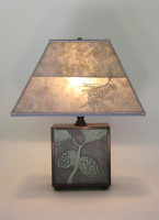 t04 Square Arts & Crafts Ceramic Tile and Copper Lamp with pine cones + Rectangle Mica lamp shade