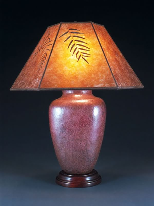 T103 Hammered Mexican Copper Lamp Base With Amber Mica Lamp Shade