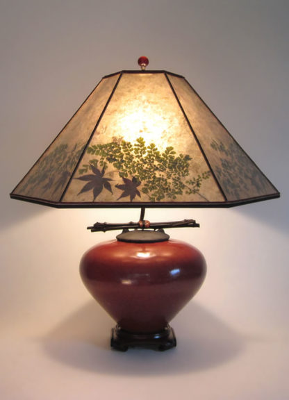 t000 Large Red Raku Lamp & Green Mica Lamp shade with maple leaves and maidenhair fern