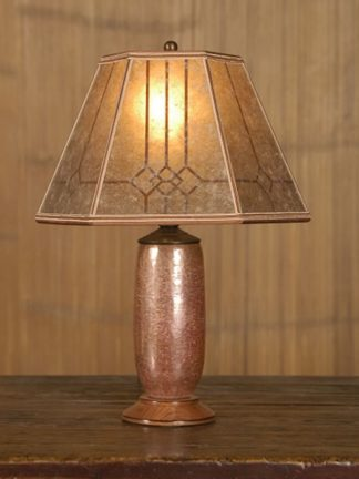 t155 Mexican Copper Desk Lamp, Mission Mica Lampshade with Windowpane design