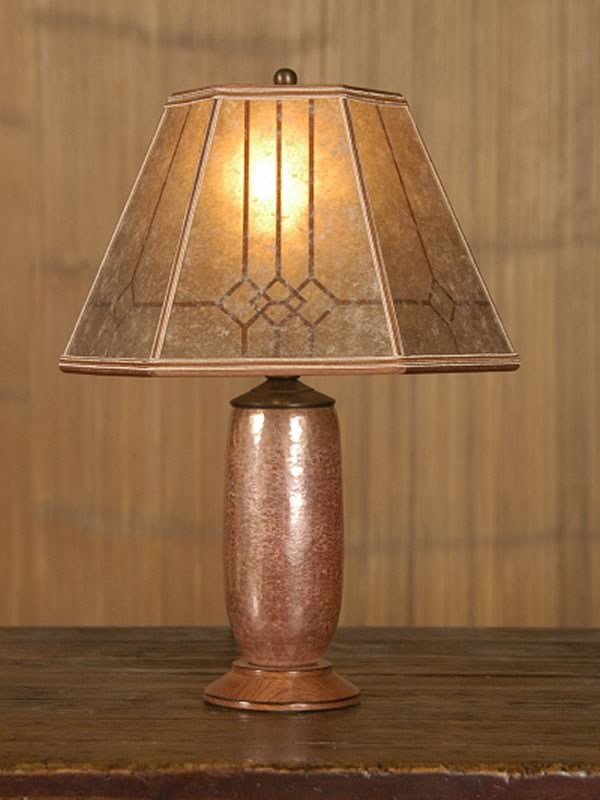 T155 Mexican Copper Desk Lamp, Mission Mica Lampshade With Windowpane Design