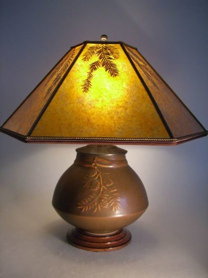 t177 Lonesomeville Art Pottery Table Lamp and Mica Lampshade, Redwood Sprigs