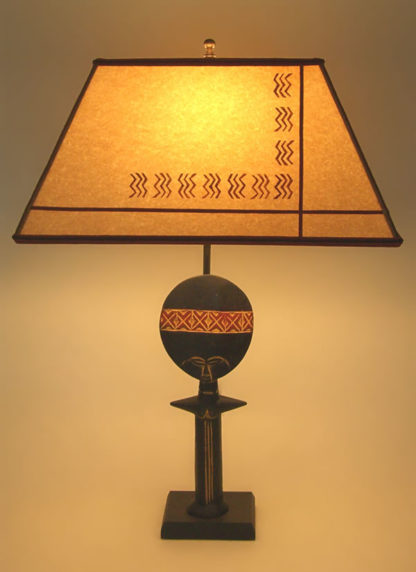 t194b African Doll Table Lamp & Stenciled Parchment Paper Lamp Shade
