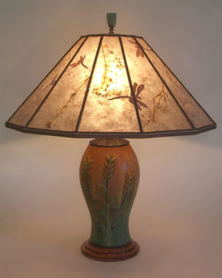 "t202 Ephraim Faience Art Pottery Table Lamp, ""Indian Paintbrush"" arts & crafts lamp and Grasses and Dragonflies Mica shade"