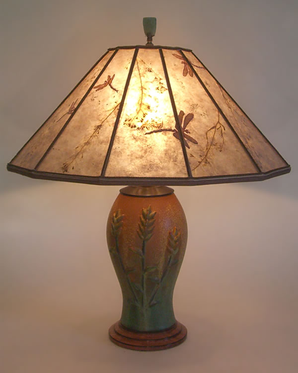 Ephraim Faience Indian Paintbrush Art Pottery Lamp Grasses And