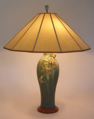 t203 Arts & Crafts table lamp: Ephraim Faience Art Pottery Spider Orchid Lamp, Parchment Paper Lamp Shade