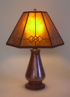 t222  Copper Small Table Lamp, Amber Windowpane Mica Mission Lamp Shade