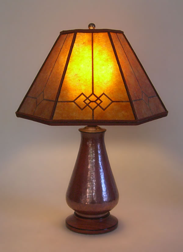 Copper Small Table Lamp Amber Windowpane Mica Mission