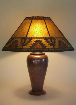 "t225a Large Copper table lamp, ""Lightning Border"" Southwestern design Mica Lamp Shade"