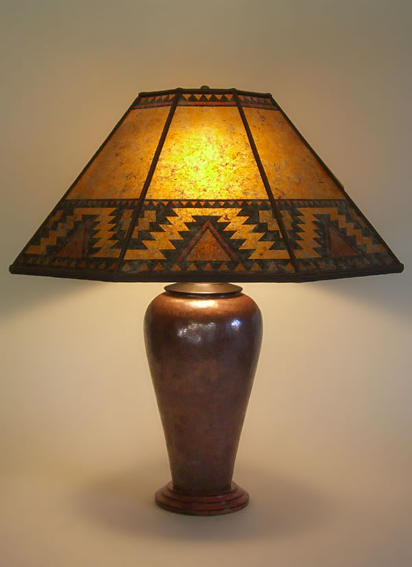 Large Copper Table Lamp Southwestern Design Mica Shade Lightning Border