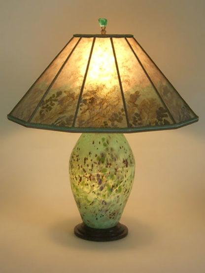 t231 Lighted American Art Glass lamp base from the Lindsay Studio, Mica Shade with Sea Turtles