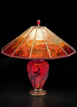t245 Lindsay Brilliant Red Art Glass Lamp & 12 panel mica shade: Phoenix Rising