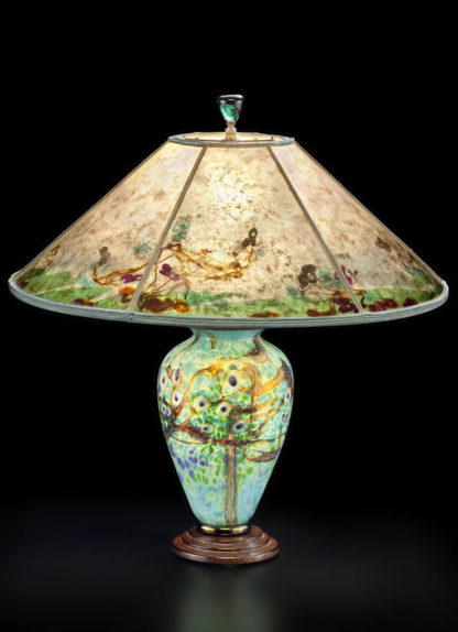 t246 Lindsay Blue Art Glass Table Lamp and Mica Lampshade: Victoria