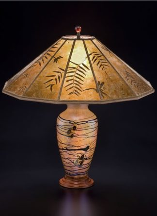 t247 Lindsay Art Glass Table Lamp and Mica Lampshade, Floral Illusion with Pepper Leaves and Dragonflies